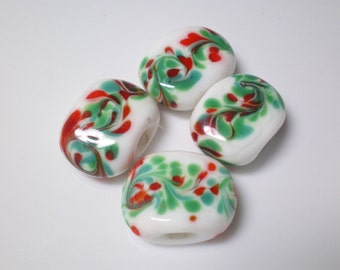 Destash ...4 Squeezed Lampwork Pillow Beads in Red, White and Green