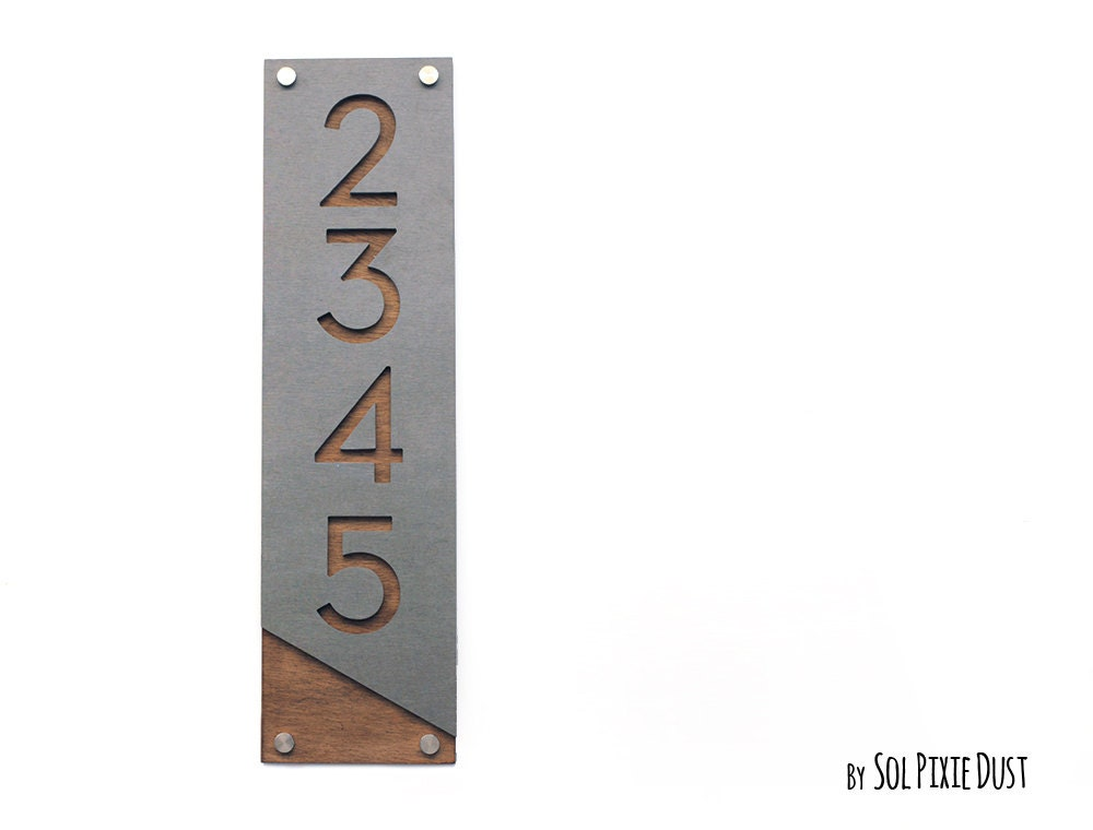 Modern house numbers concrete with wood vertical for Modern house numbers canada