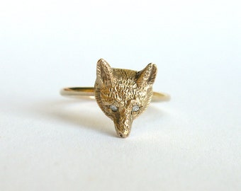 SALE! 20% OFF! Antique 9ct Gold Fox Face Ring with Diamond Eyes