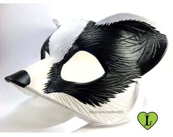 Badger Mask, Black and White, Leather Masquerade Mask, Fursona Cosplay, Spirit Animal, Realistic Mask, Animal Costume