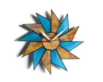 Rustic Wall Clock Wood Brown Turquoise Blue Home decor, Nautical Beach Ocean Clock, Beach Cottage Decor Starburst Clock, Coastal Decor