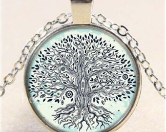 Vintage Tree of Life Cabochon Glass Tibet Silver Chain Pendant Necklace