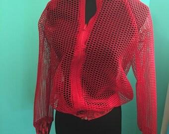 Fishnet cover up track jacket