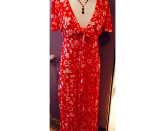 70's floral maxi dress with flirty keyhole and tie