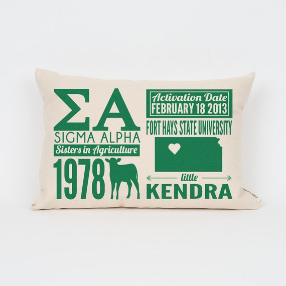 sigma alpha custom sorority facts pillow greek letter