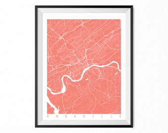 Knoxville City Map Art Print Knoxville Poster Knoxville Wall Art Tennessee Gift