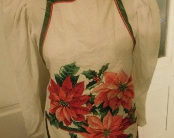 Vintage Christmas Apron, Poinsettias, Full Size