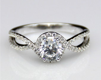 1ct Esdomera Round Moissanite Double Shanks Halo 14k White Gold Engagament Ring (CFR0150-MS1CT)