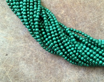 Full Strand Natural Malachite 3mm Round Beads