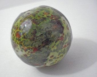Grassy Green Macrame Hanging Ball Glazed Glass Vintage Craft