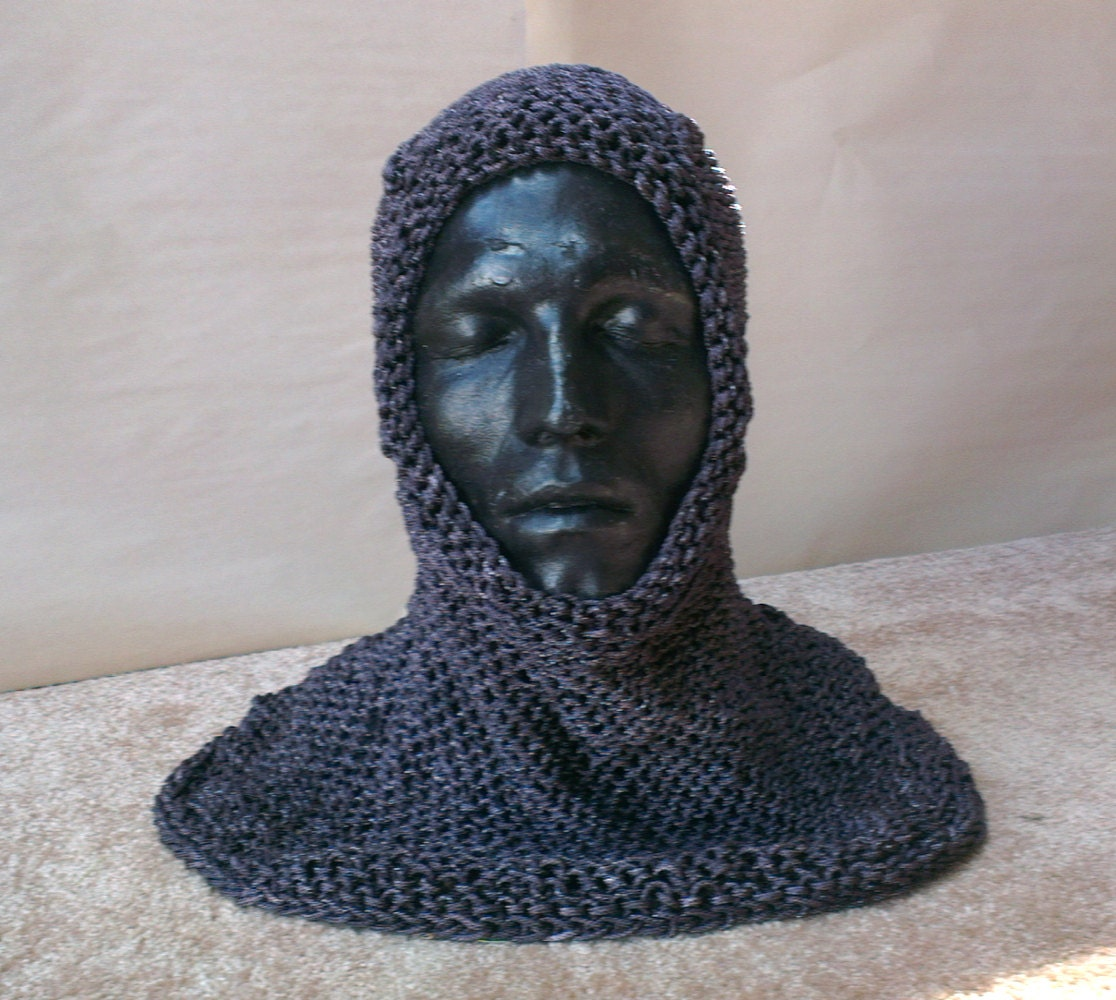 Chainmail Hood Knitting Pattern : Knitted Chainmail Hood Unpainted by BrownBootsCostumes on Etsy