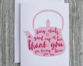 Thank You - Vintage Tea Pot - Letterpress Blank Greeting Card on 100% Cotton Paper
