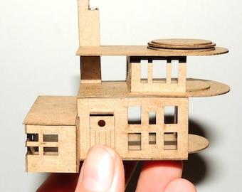 Micro Miniature DOLLHOUSE In 1:144 1/144 and N Scale- Art Deco Futuristic Modern