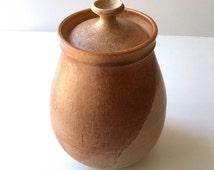 Stunning Noel Flood Vintage Ceramic 1968 Cookie Jar Peach tones Huge Gorgeous Pear Shape Signed
