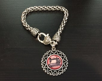 Sewing Machine Quilter Seamstress Open Heart Bracelet