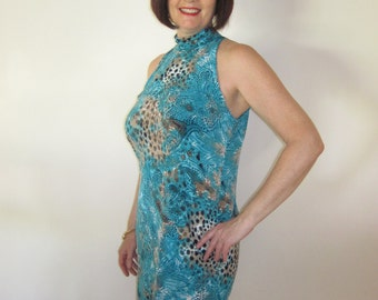 Aqua Animal Print Stretch Dress