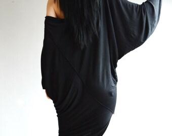 Unique Black Blouse/ Asymmetric Black Tunic Top /Party Tunic ZM139