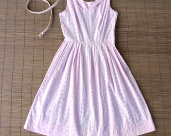 Vintage 1960s Baby Pink Eyelet Day Dress / Cutout Neckline / Sundress / Fit & Flare / Midcentury