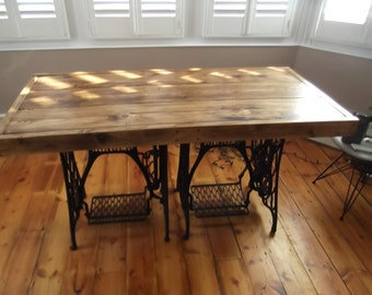rustic dining table with vintage singer sewing machine treadles handmade from reclaimed timber finished in - Kitchen Table Sewing