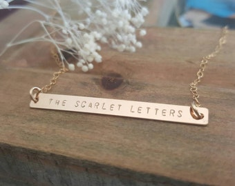 14K Gold filled Bar necklace/ personalized bar/ hand stamped/gift/ mom/kids / names/ dates/ initials / long bar