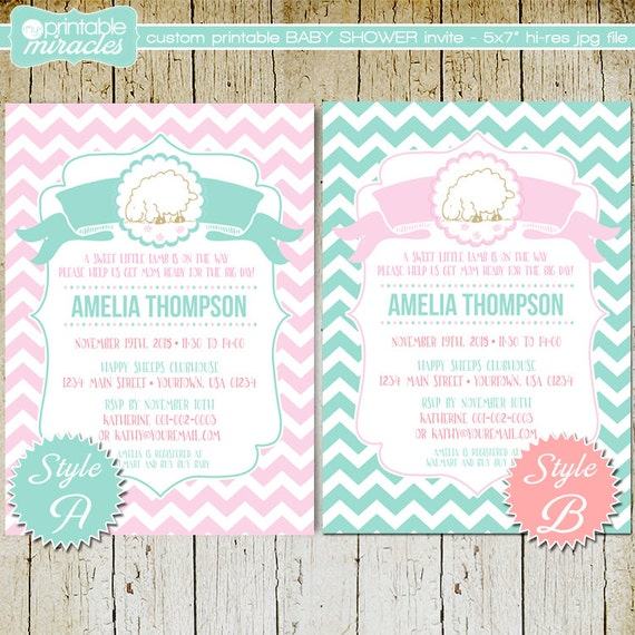 little lamb baby shower invitation, customized sheep girl baby, Baby shower invitations
