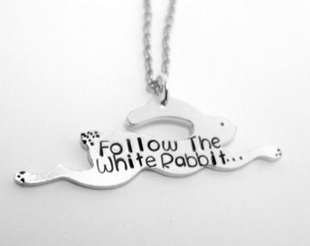 Follow The White Rabbit Necklace, hand stamped aluminium necklace