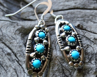 Southwestern Handmade Native American Indian Sterling Silver and Turquoise Earrings