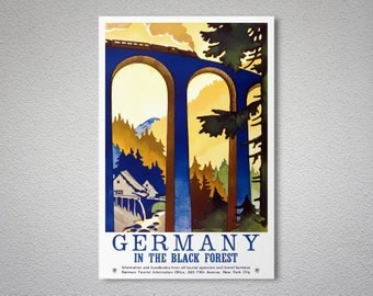 Germany In the Black Forest Travel Poster - Poster Print, Sticker or Canvas Print