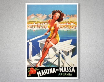 Marina di Massa  Vintage Travel Poster - Poster Print, Sticker or Canvas Print