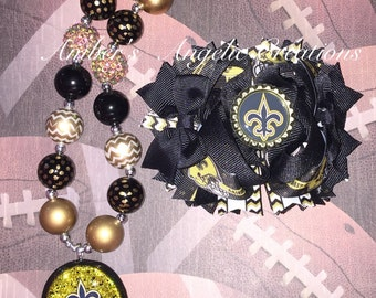 Saints Inspired Football Bow With Matching Necklace