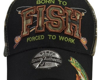 Born To Fish Forced To Work Black/Camo Hat -  Free Shipping