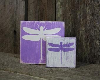 Dragonfly Blocks, Dragonfly Decor, Spring Summer Decor, Dragonfly Art, Dragonfly Home Decor, Weathered Dragonfly Blocks