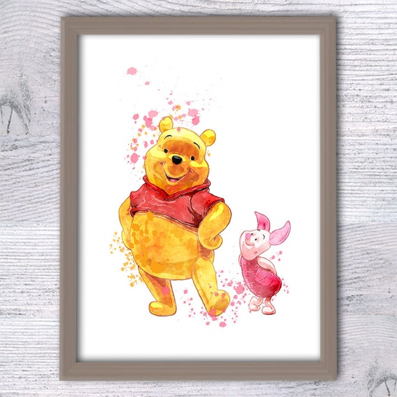 winnie the pooh print pooh and piglet nursery art print. Black Bedroom Furniture Sets. Home Design Ideas