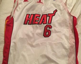Authentic sewn Miami Heat LeBron James # 6 jersey, youth size XL Adidas