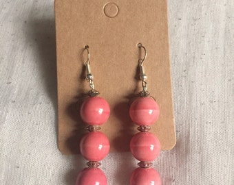 Pink drop earrings with silver detail