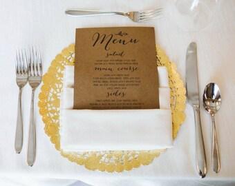 Printable Wedding Menu Thank You - Dinner Menu Thank You - The Alicia Collection