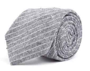 Gray Small Striped Necktie