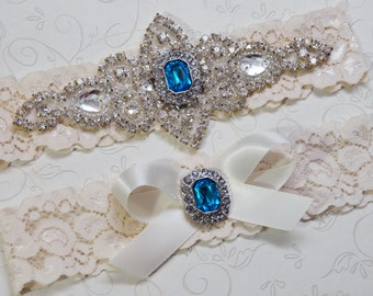Wedding Garter Set, Ivory Stretch Lace Garter, Crystal Garter Set w/ blue stone, Garter,  Agatha Style 10528