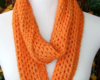 Bright spring scarf, crocheted infinity scarf, lightweight cotton scarf, bright orange circle scarf