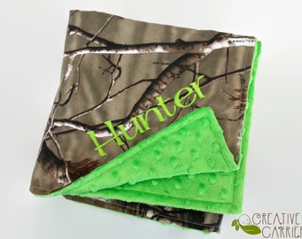Personalized Camo and Minky Baby Blanket, Realtree Camo and your choice minky color