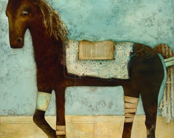 The Whimsical Brown Horse - print