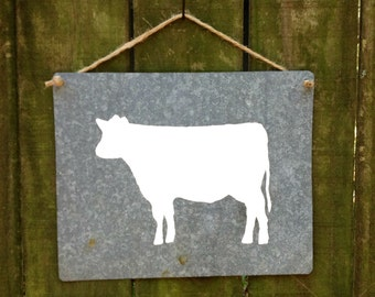 Cow Silhouette Painting on Reclaimed Roofing Tin