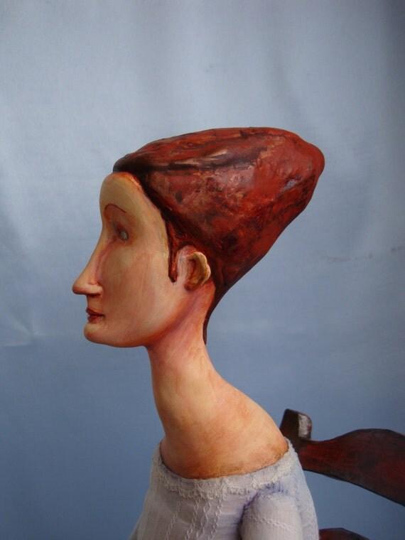Modigliani art doll - OOAK figurine Modigliani style - Jeanne Hebuterne clay doll - Collectible art doll