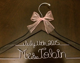 Personalized Wedding Hanger With Date as a 2nd line. Pearls and ribbon included!