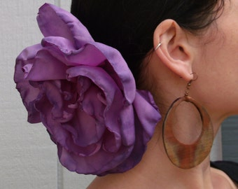 Purple Lilac Ombre GIANT flower-flamenco Hair clip-pin-Varigated Rose-Belly dance-Tango Flower - day of the dead- Freeda - cart driving