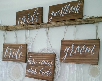 5 x Wooden hand painted wedding signs. Page boy / bride / groom sign.