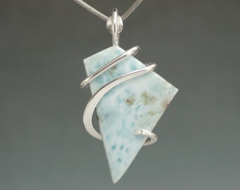 Larimar Freeform Cold Forged Sterling Silver Pendant