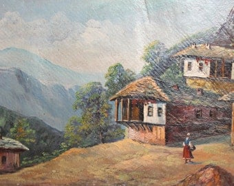 Antique oil painting mountain village landscape