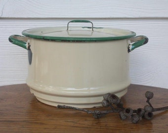 Vintage enamel steamer with lid ~ green and cream ~ rustic kitchenalia