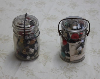 Vintage Ball / Atlas / Mason Jar Filled with Buttons